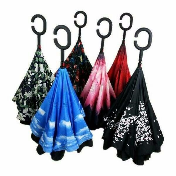 Jual Payung Terbalik Kazbrella Payung Mobil Reverse Umbrella Gagang