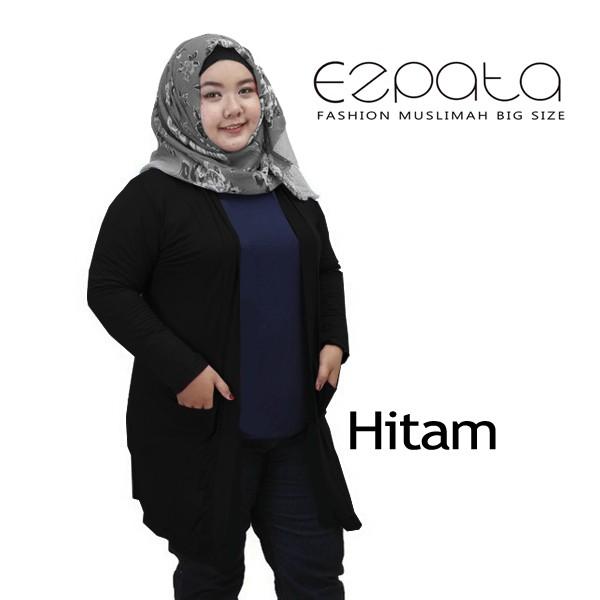 harga Outer Cardigan Kaos Polos Lengan Panjang Big Size / Jumbo - Hitam Tokopedia.com
