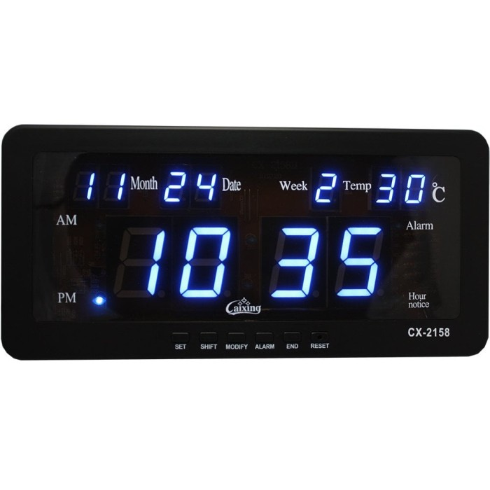 Jam Dinding Digital LED Biru Cx 2158 .