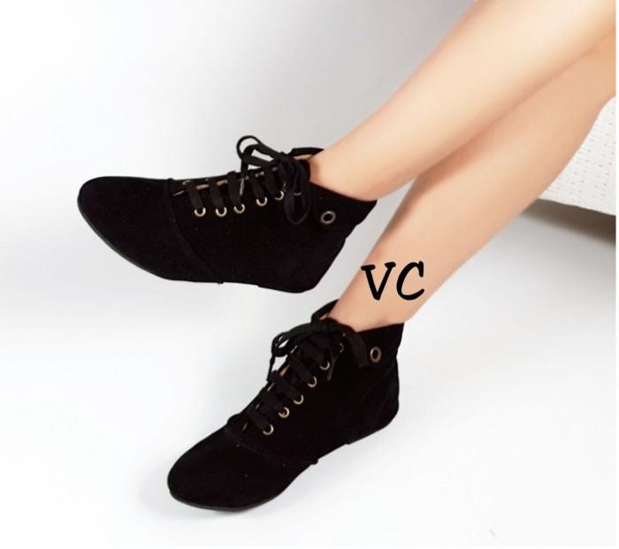 harga Sepatu Flat Wanita Boot Boots Korea Hitam Tokopedia.com
