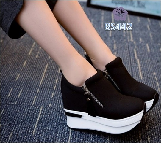 Sepatu wanita boots uyoung resleting hitam - bs442