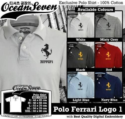 harga Kaos/baju/polo shirt/ferrari logo Tokopedia.com