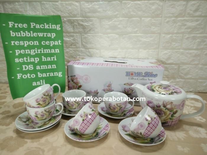 (packing kayu) Coffee set homeline 13pcs Rose / Tea set / Cangkir Set