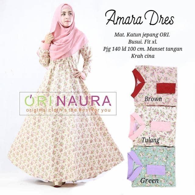 Murah Amara Maxi Dress Gamis Muslim Katun Jepang Premium Original Bran