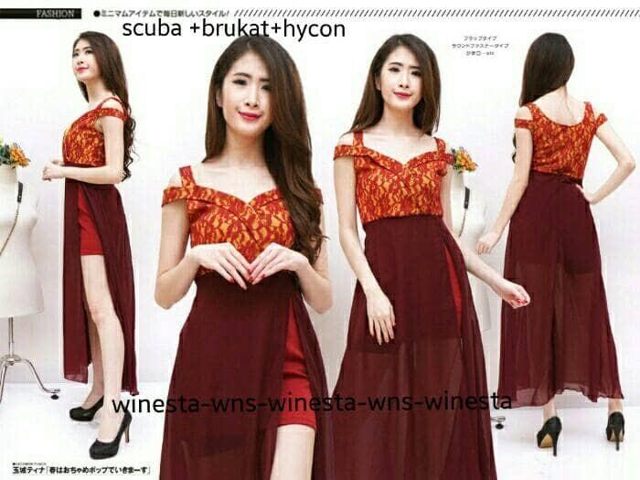 harga Mo dress cestora scuba wns bahan scuba + hycon+ brukat good quality Tokopedia.com
