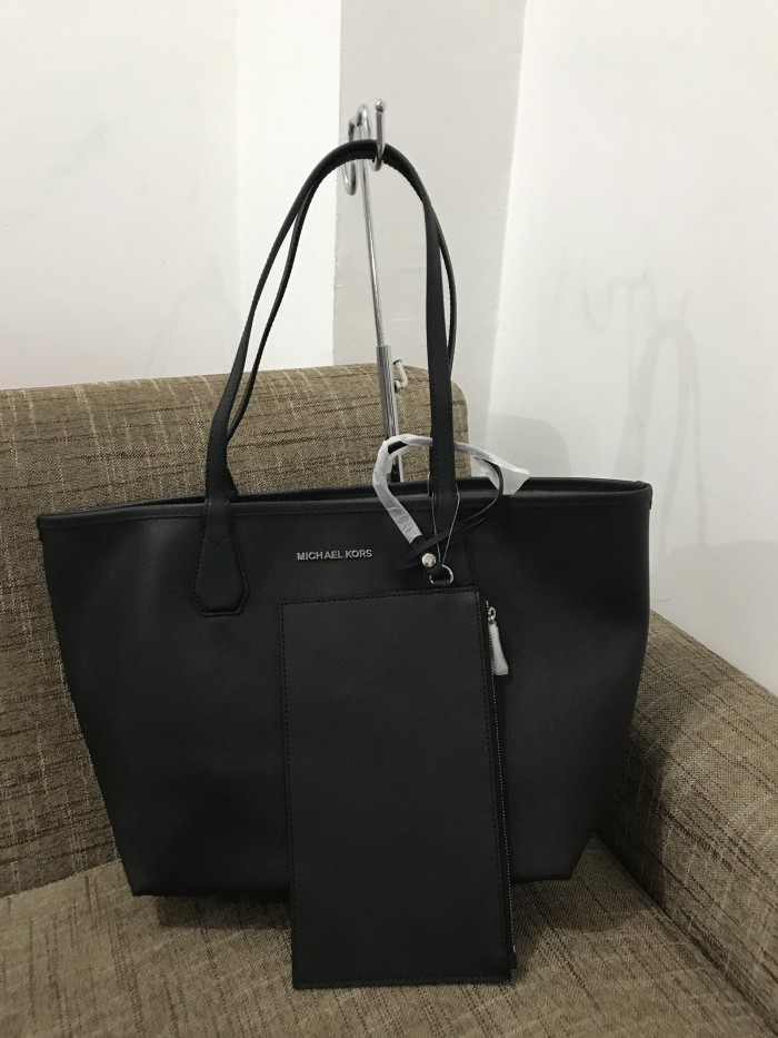 ea8077a8b23b Michael Kors Candy Reversible Tote Black Pearl Grey Tas MK Original
