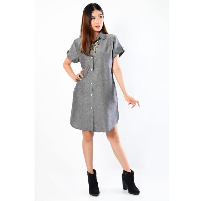 PROMO MURAH !!   Tunik Basic Tangan Pendek / Dress Kemeja Polos Trendy