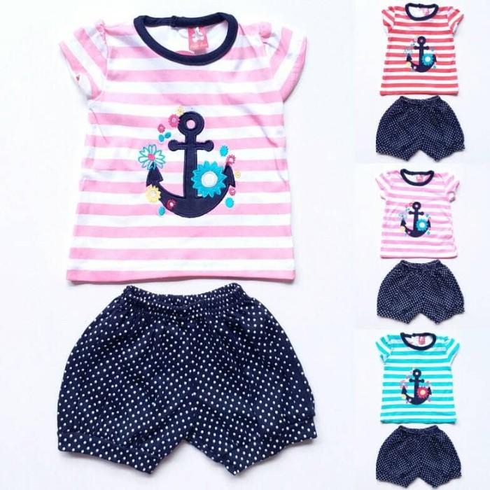 harga Baju setelan anak bayi perempuan cewek garis jangkar celana pendek dot Tokopedia.com
