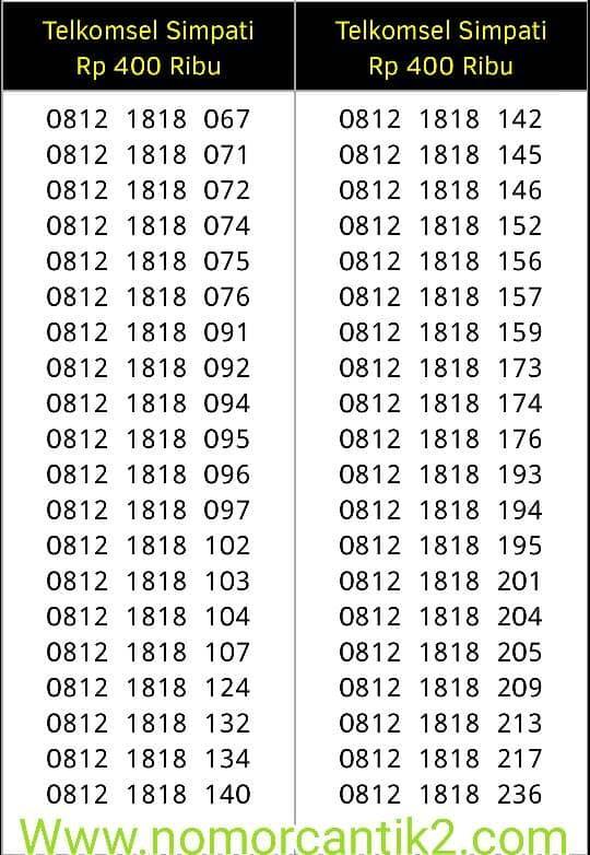 Telkomsel Simpati Nomor Cantik 0812 1818 946 Cek Harga Source · nomor cantik simpati 11 digit