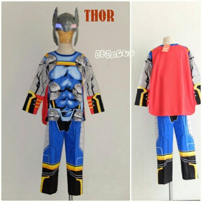 Baju setelan kostum karakter superhero anak thor 2-5 thn topeng…