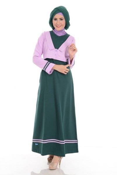 Jual Model Baju Gamis Terbaru Alnita Ag 11 Hijau Botol Baju Muslim