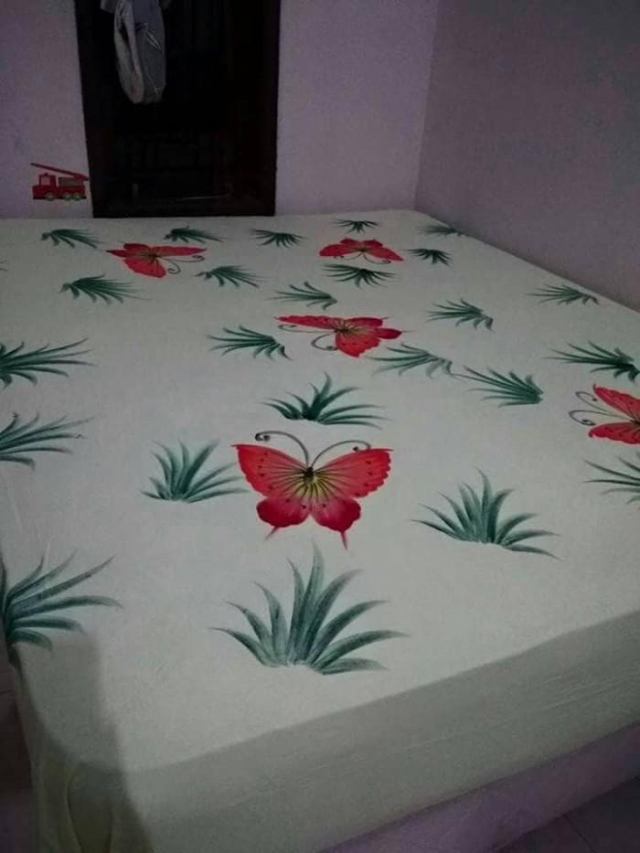 harga Sprei batik lukis pekalongan 180x200 adem tebal dan nyaman cantik bagu Tokopedia.com
