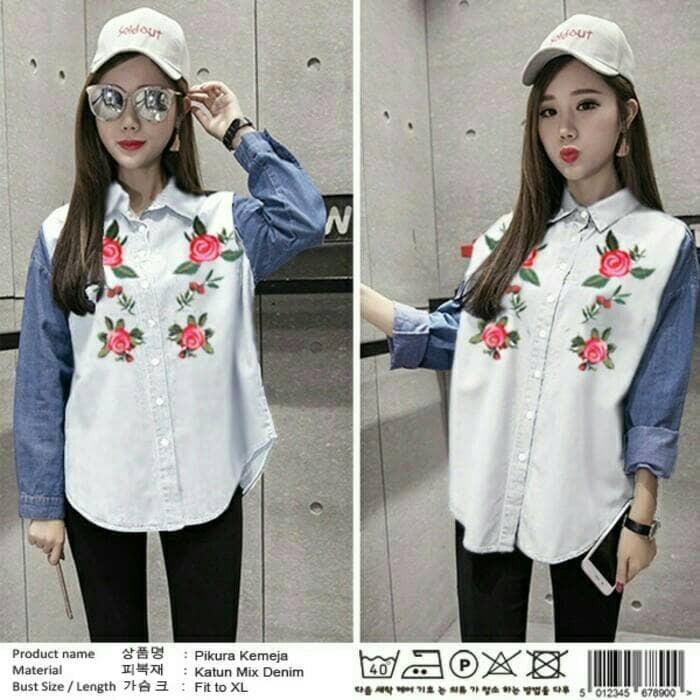 kemeja hem blouse shirt putih biru baju atasan bluss wanita xl jumbo