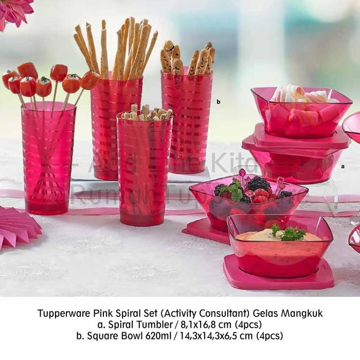 Tupperware Pink Spiral Set (activity Consultant) Gelas Mangkuk