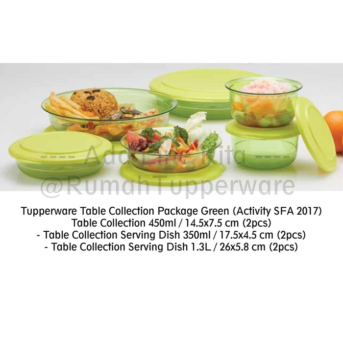 harga Tupperware table collection package green (activity sfa 2017) Tokopedia.com