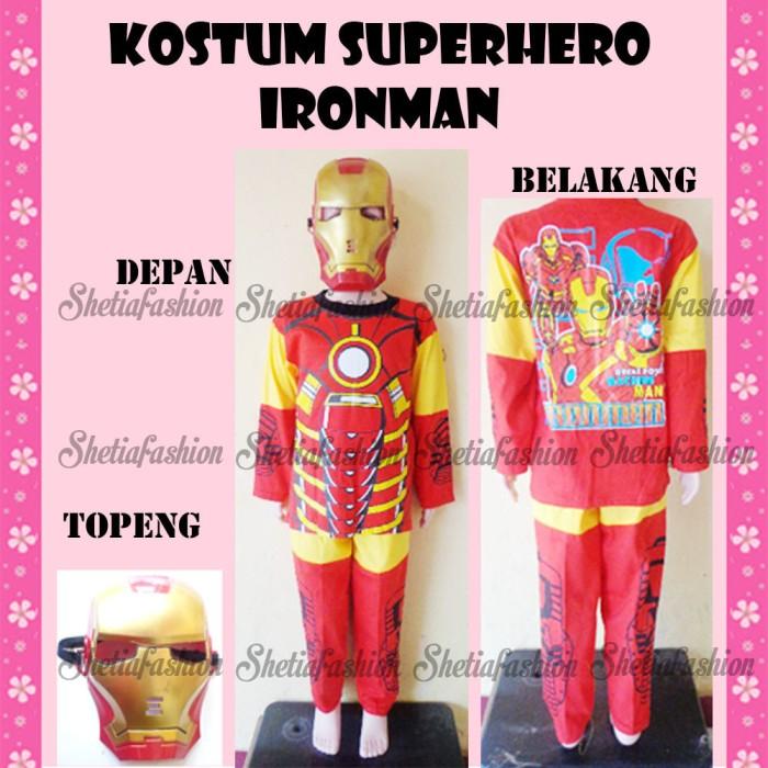 Baju anak kostum topeng superhero karakter iron man seri 1.2.3th
