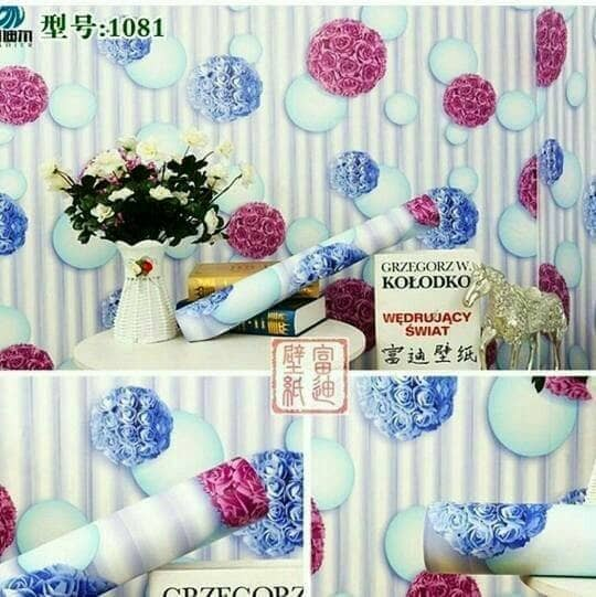 Wallpaper sticker dinding motif bunga polkadot