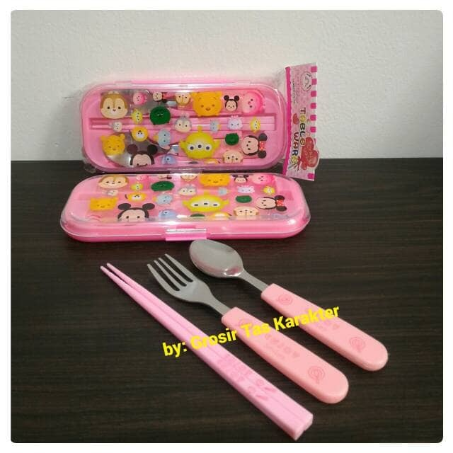 ... harga Sendok set garpu sumpit anak karakter tsum disney peralatan makan Tokopedia.com