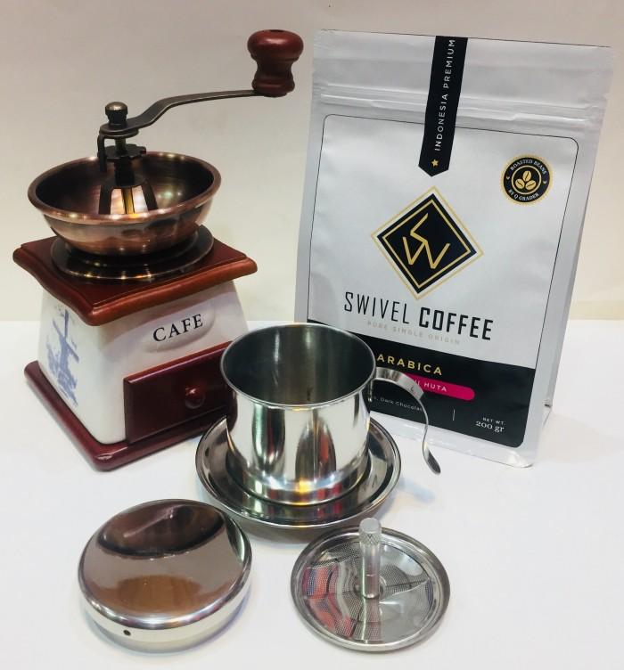 harga Paket Coffee Grinder Keramik, Vietnam Drip Edelman & Kopi Lintong 200g Tokopedia.com