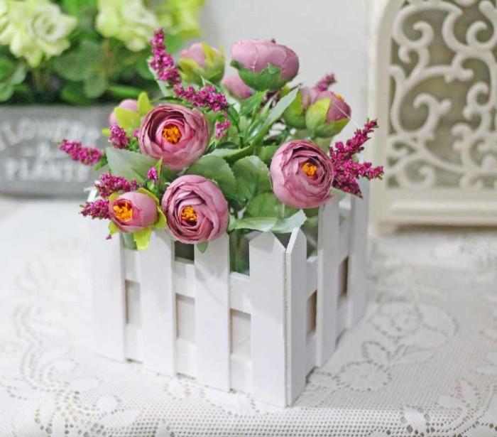 harga Bunga plastik hias artificial + pot pagar kecil mawar / fence rose h2 Tokopedia.com