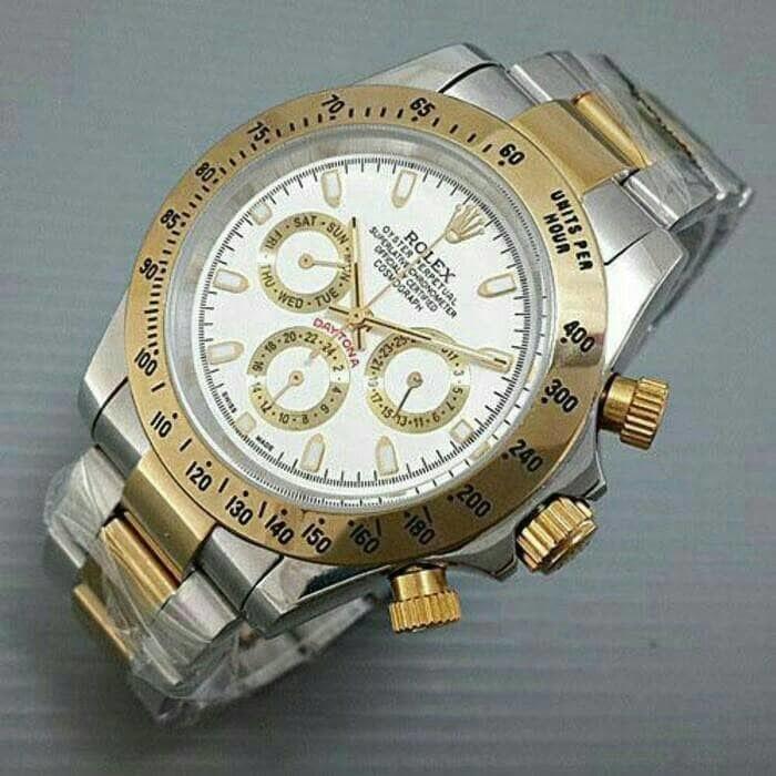 Jam tangan pria rolex automatic daytona super white gold silver murah bda3410a03