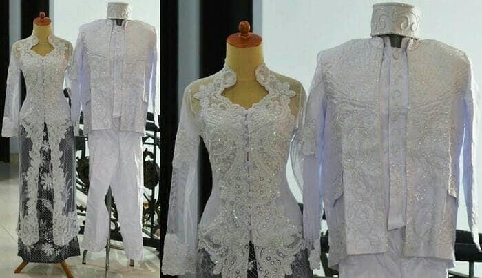 Jual Kebaya Akad Nikah Putih Couple Modern Muslim Jakarta Pusat Yobel Collection Yc Tokopedia