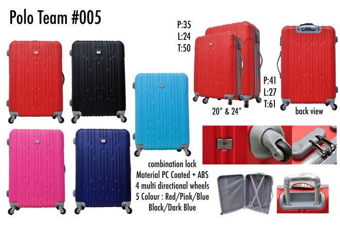 Polo Team Tas Koper Hardcase Kabin Size 20 inch - 005 - Hitam