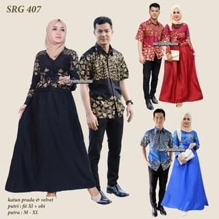 Baju Batik Couple Sarimbit Seragam Pesta Hijab Muslim Kebaya Wanita. Jual  Batik Couple Long Dress Batik Sarimbit Srg 407 Batik Sri af3a7db593