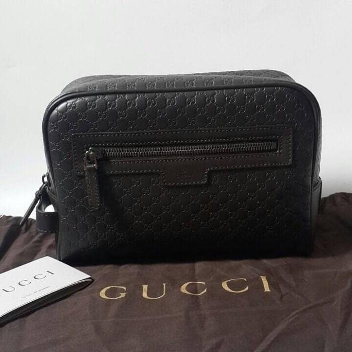 03a245701d6 Jual Tas Dompet Cowok Gucci Original   Guccissima Men Clutch Dark ...