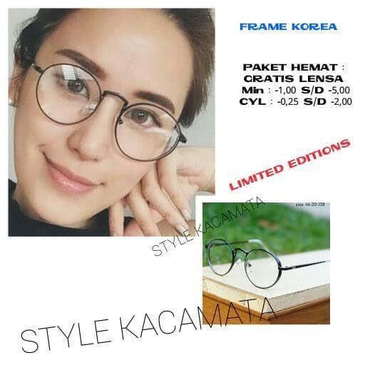 harga Frame kacamata wanita kaca mata bulat kacamata anti radiasi   minus  Tokopedia.com 11fbe6aa16