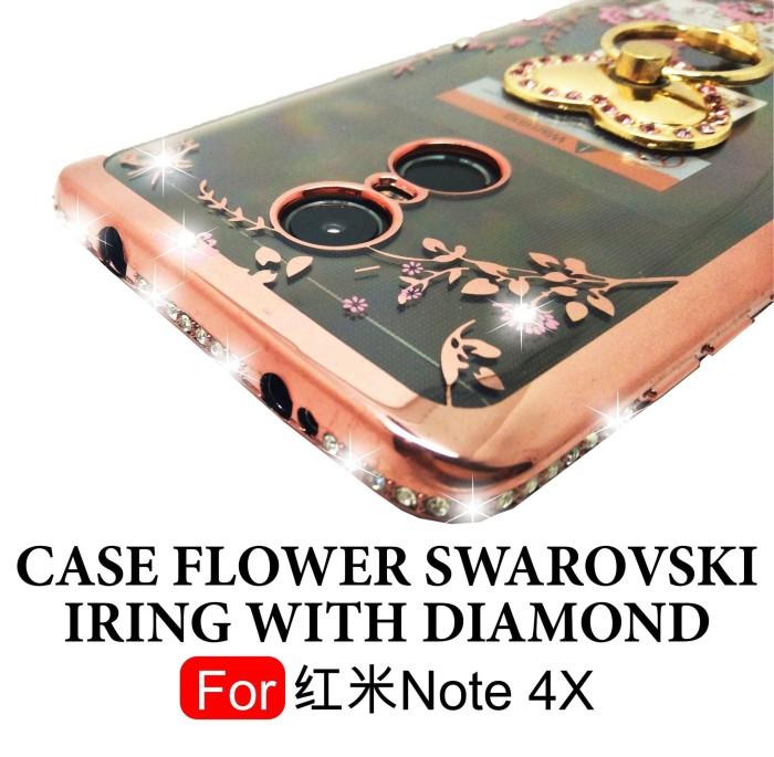 SoftCase Flower Swarovski Diamond Ring Xiaomi Redmi Note 4X Snapdragon - Gold