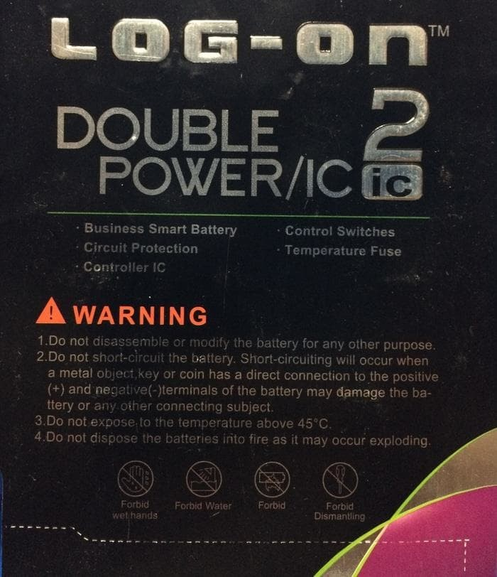 LOG ON Battery For Lenovo A708 A859 4000mAh Double Power & IC. Source .