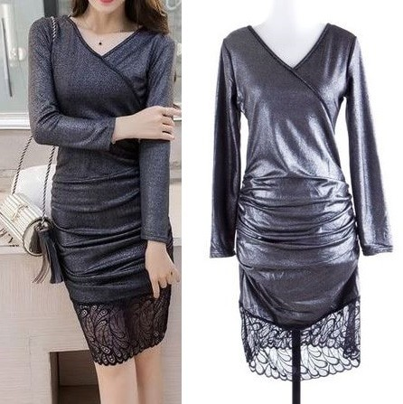 harga Import grey glossy lace v-neck bodycon midi dress abu silver brukat Tokopedia.com