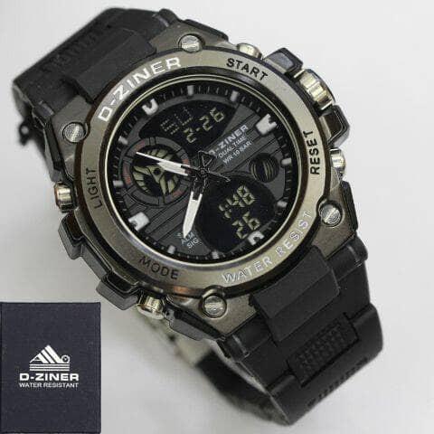 Jam Tangan Sport Pria Dziner D-Ziner 8139 original chain Double Chain