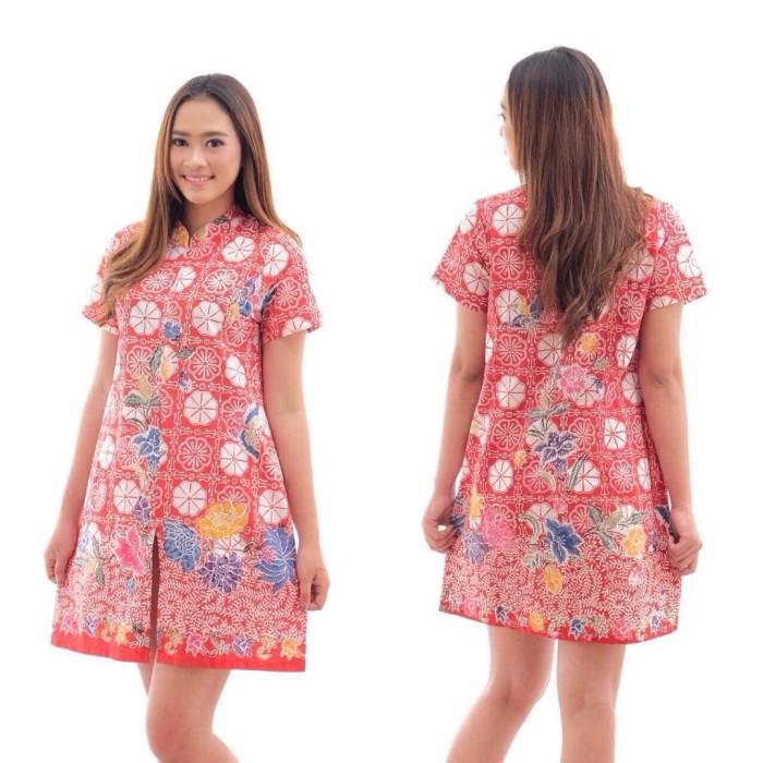 Jual Dktt046 Dress Batik Pendek Cap Encim Wanita Pesta Kemeja Blouse
