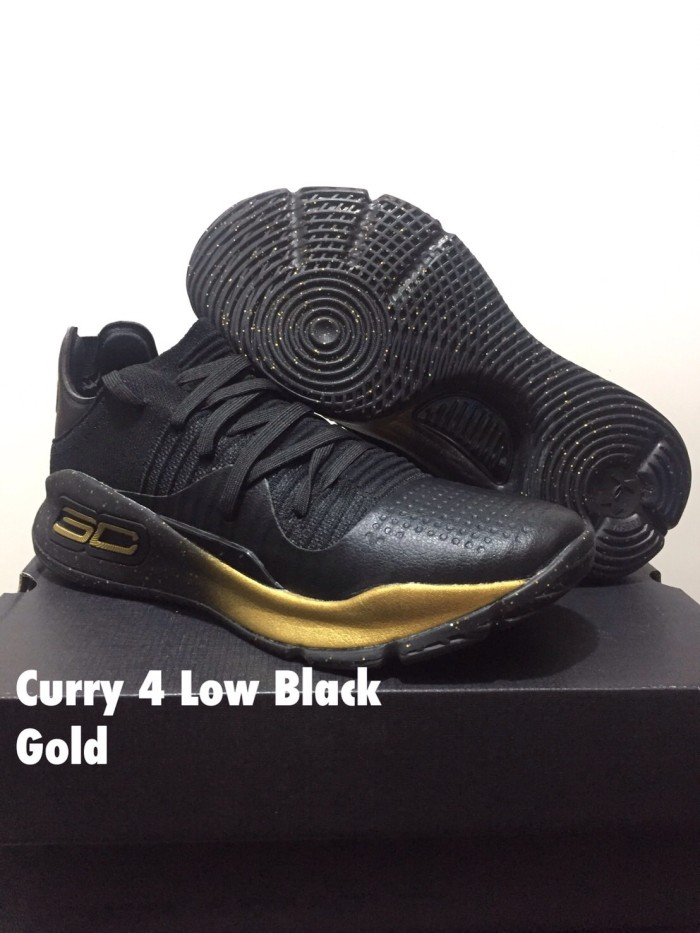 67cb76b7b37 Jual sepatu basket under armour curry 4 LOW black GOLD grade ...