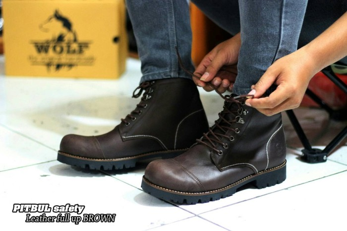 Jual SEPATU BOOTS SAFETY KULIT ORIGINAL WOLF FOOTWEAR - PITBUL BROWN ... 1216ee3788