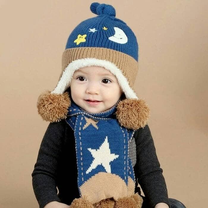 Set topi kupluk dan syal anak untuk winter   musim dingin harga ... 0048276dd7