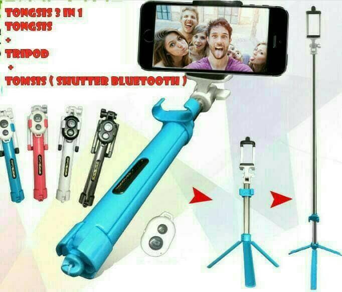 harga Tongsis tripod  bluetooth 2 in 1 kamera hp samsung xiomi oppo iphone Tokopedia.com