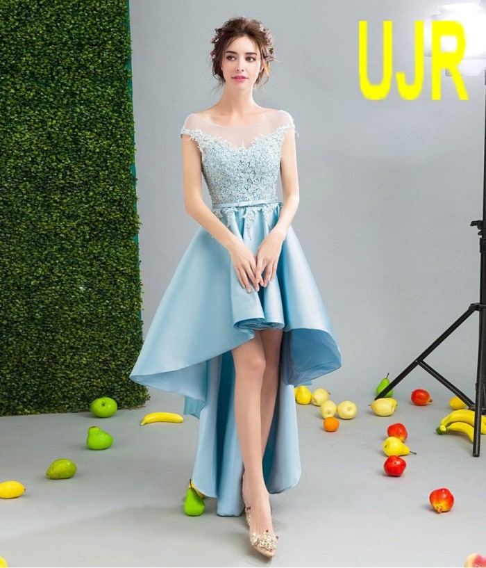 Gaun Malam Handmade Short Front Long Back Luxury Style Lace Crystal