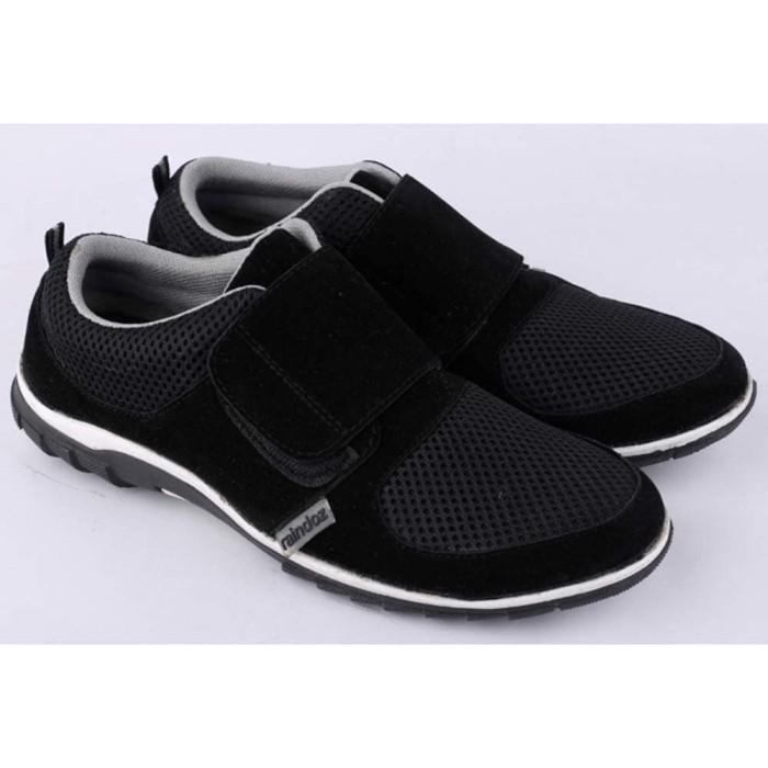 Sepatu casual pria cowok cowo laki-laki tanpa tali hitam rca 051 rz