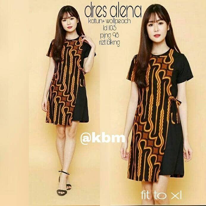 Jual Dress Tunik Batik Alena Dress Pesta Murah Meriah Dress Batik