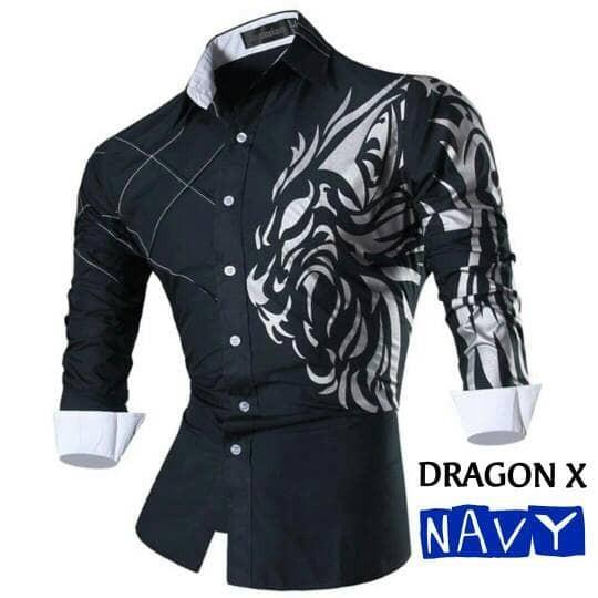 harga Kemeja pria panjang [ dragon x navy ] xman / baju hem cowok slimfit Tokopedia