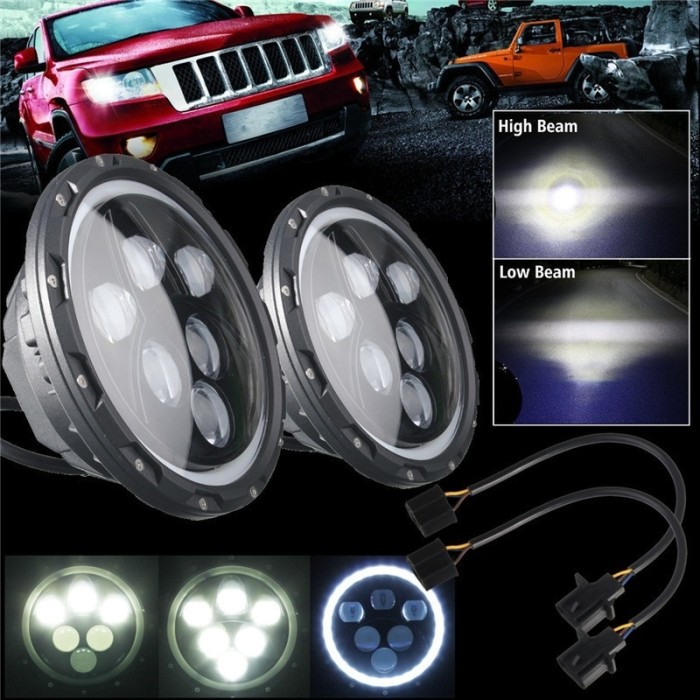 harga Headlamp / lampu besar led 7 inch 60 watt jeep cj7 wrangler rubicon jk Tokopedia.com