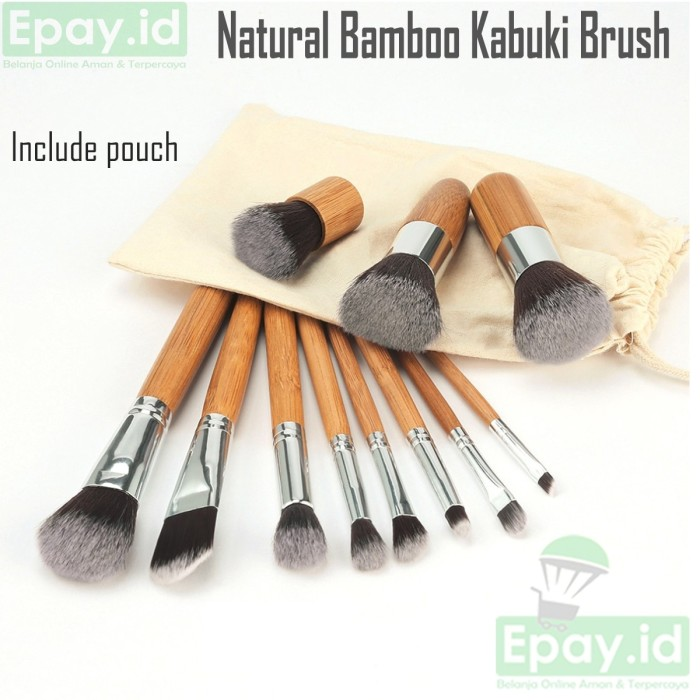 Natural bamboo kabuki brush original kuas make up 11 pcs with pouch