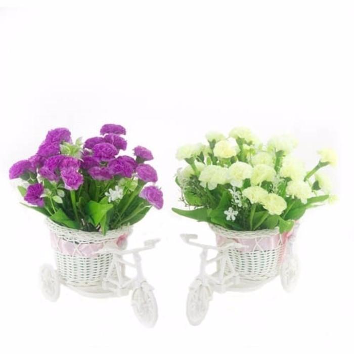 Bunga Anyelir Mini Artificial Pot Sepeda - Tanaman Plastik Hias Decor 0bffb8048d