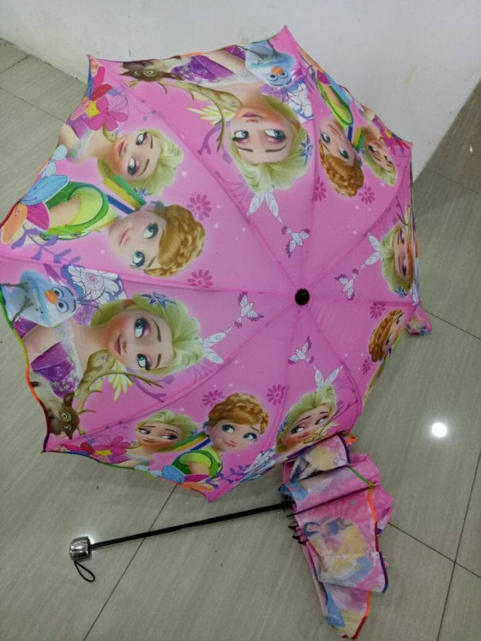 Payung lipat 3 motif karakter hellokitty frozen barbie