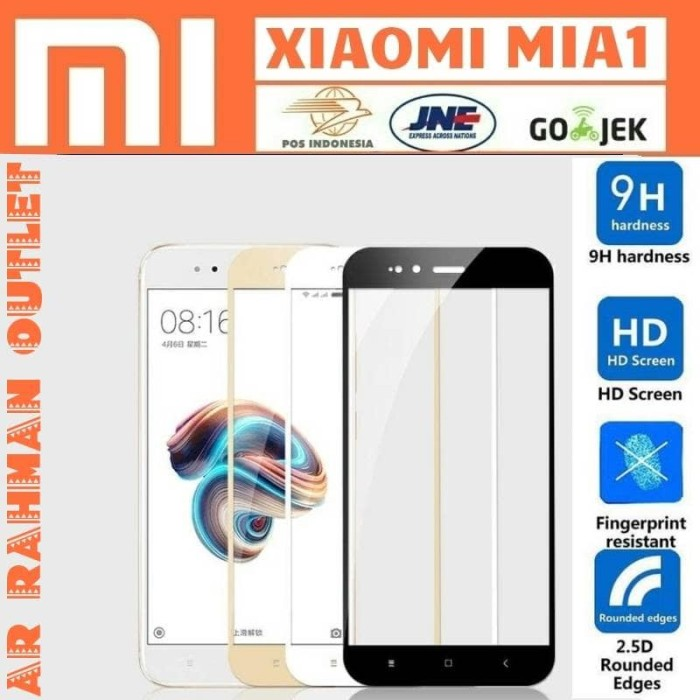 Foto Produk XIAOMI MIA1 MI A1 5X MI5X tempered glass warna color full layar hp 9H - Putih dari AR RAHMAN OUTLET