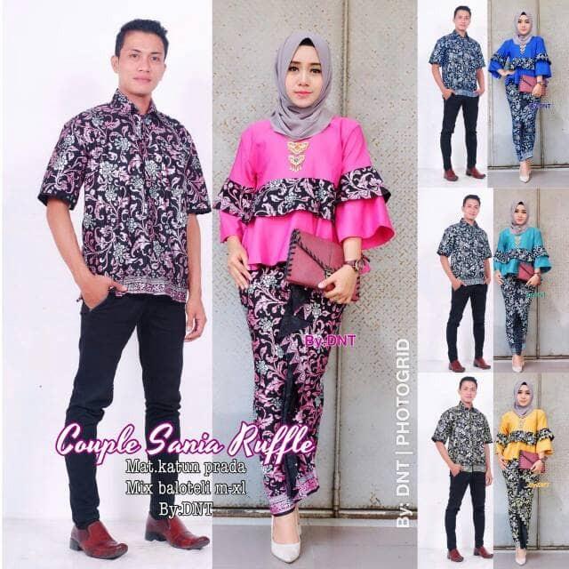 harga Couple batik / sarimbit batik sania ruffle Tokopedia.com