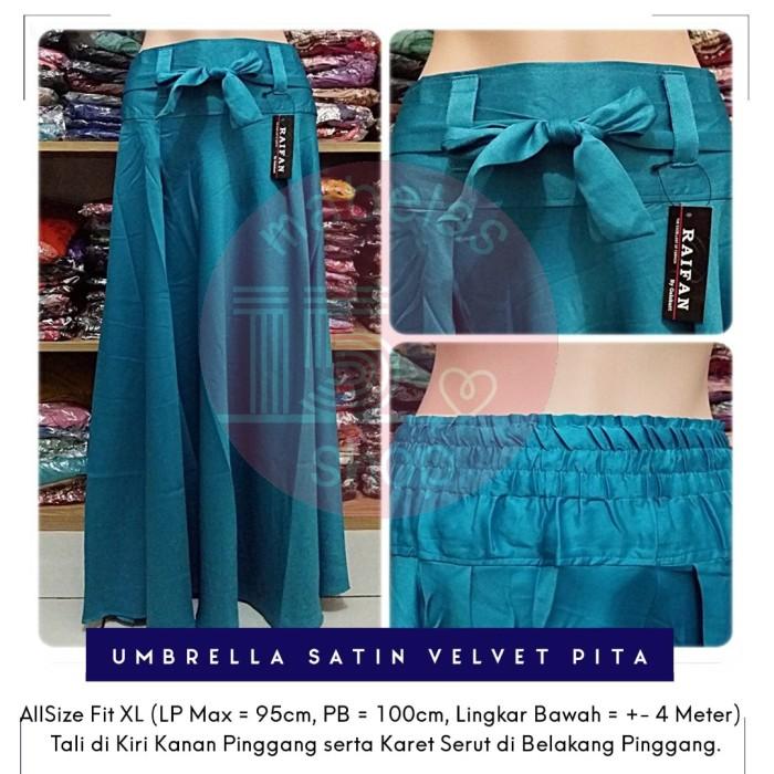 harga Rok payung satin velvet pita lebar polos panjang maxi skirt biru toska Tokopedia.com